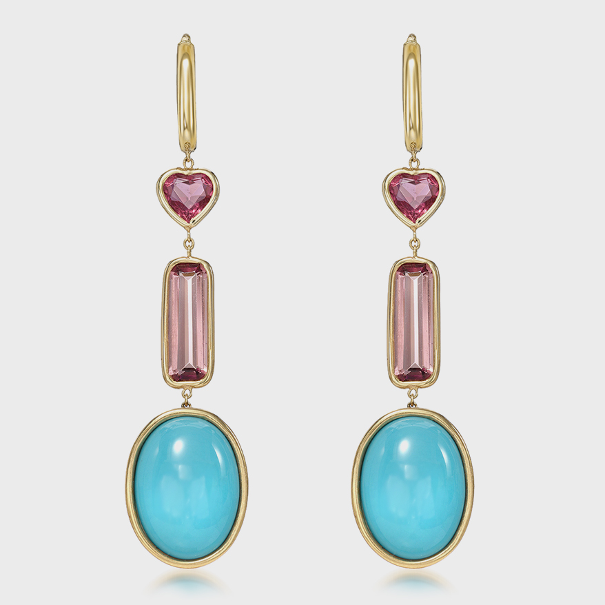 14K yellow gold earrings with Sleeping Beauty turquoise and ethically sourced pink tourmaline.
