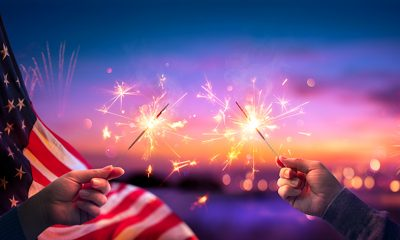 US flag and fireworks
