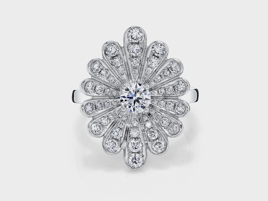 Anita Ko 18K gold diamond water lily ring with center and pavé diamonds.