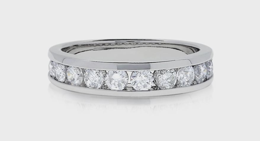 Effy Jewelry 14K white gold band with diamonds.