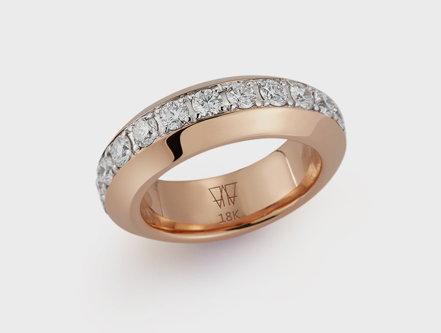 Walters Faith 18K rose gold band with diamonds.