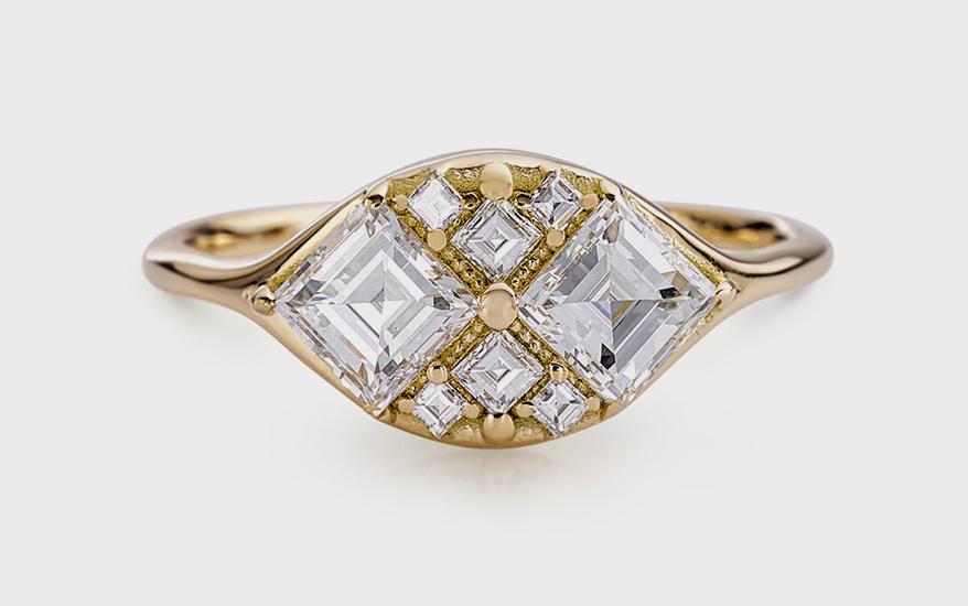 Artëmer 18K yellow gold ring with diamonds