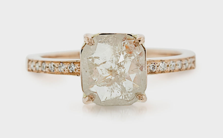 Chinchar Maloney 14K rose gold ring with icy peach diamond