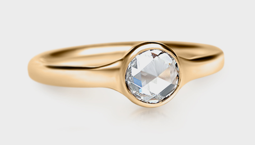 Jewelry by Cari 18K yellow gold ring with rose cut diamond