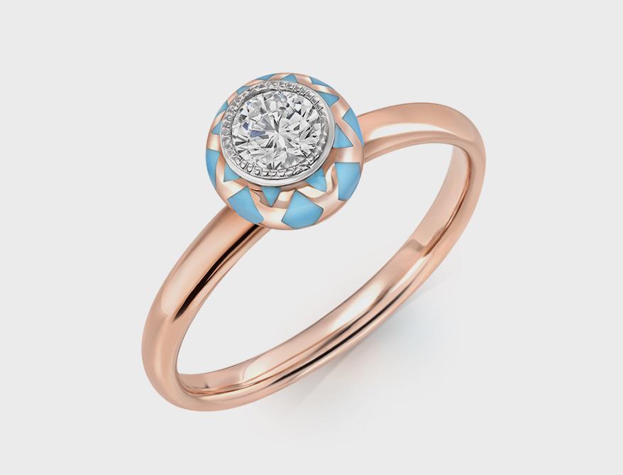 Sablina Jewelry 14K rose gold ring with diamond