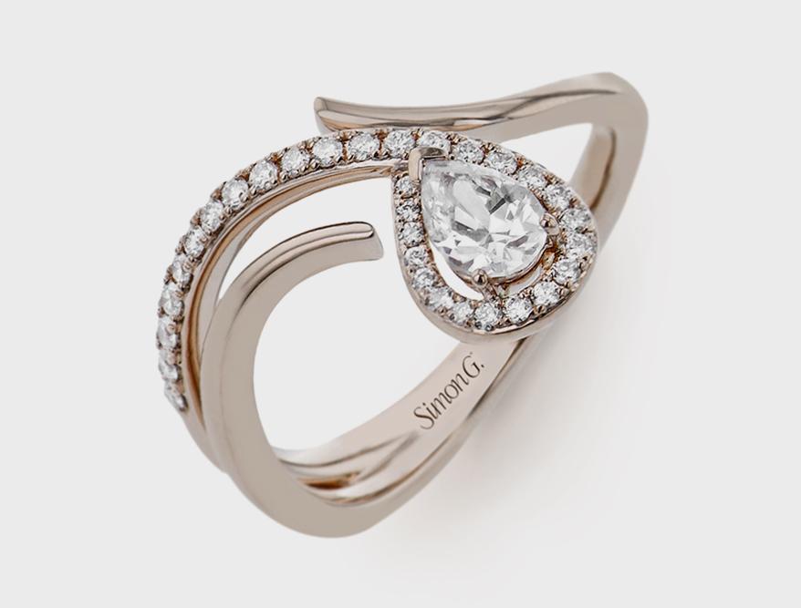 Simon G. Jewelry 18K rose gold semi-mount with diamonds