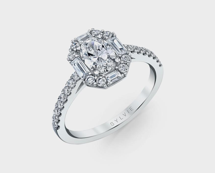 Sylvie Collection 14K white gold semi-mount with diamonds