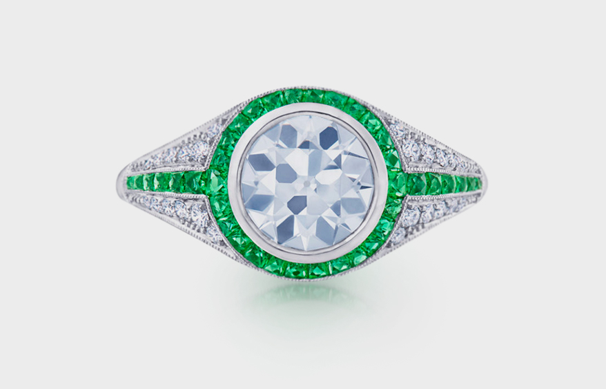 Fred Leighton Platinum semi-mount with diamonds and emeralds.