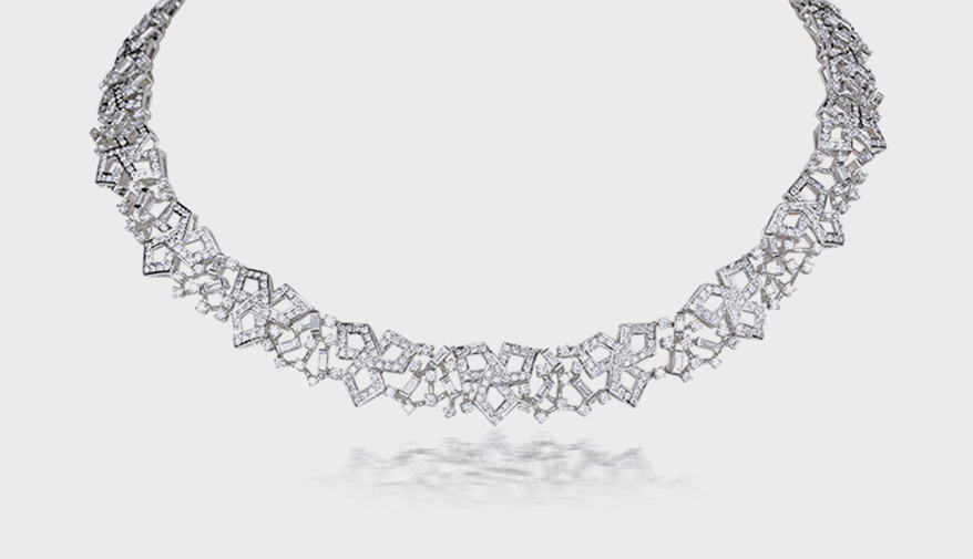 Ananya Lotus necklace in 18K white gold with diamonds