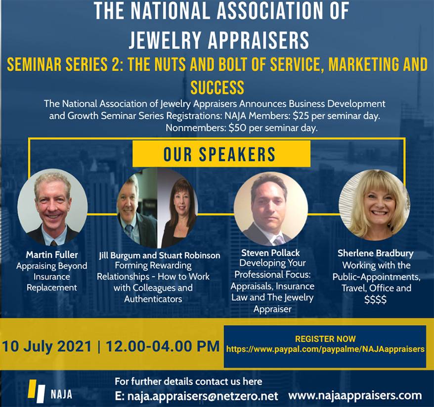 The National Association of Jewelry Appraisers Announces July 10 Seminar