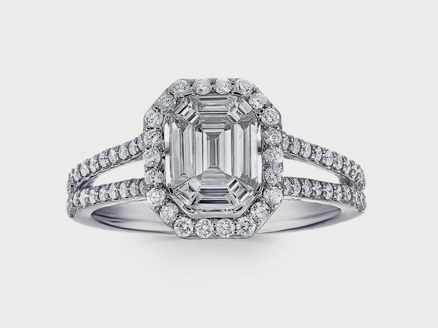 Bridal ring and matching band from Shefi Diamonds' Compozit Collection
