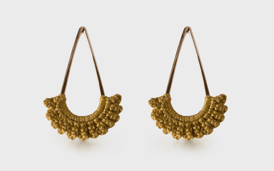 Twyla-Dill 14K yellow gold-plated earrings with hand-crocheted lace.