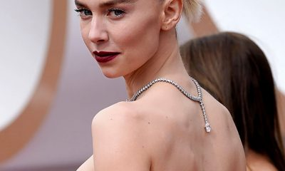 Vanessa Kirby wearing a Cartier diamond and platinum necklace at the 2021 Oscars.