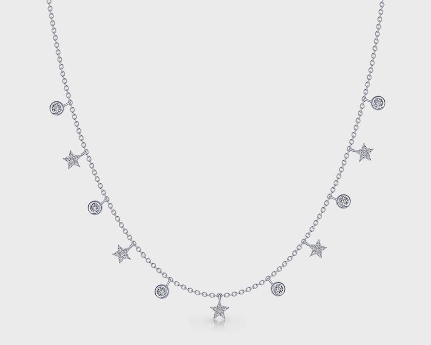 Collier Lafonn en argent sterling lié au platine avec des diamants simulés.