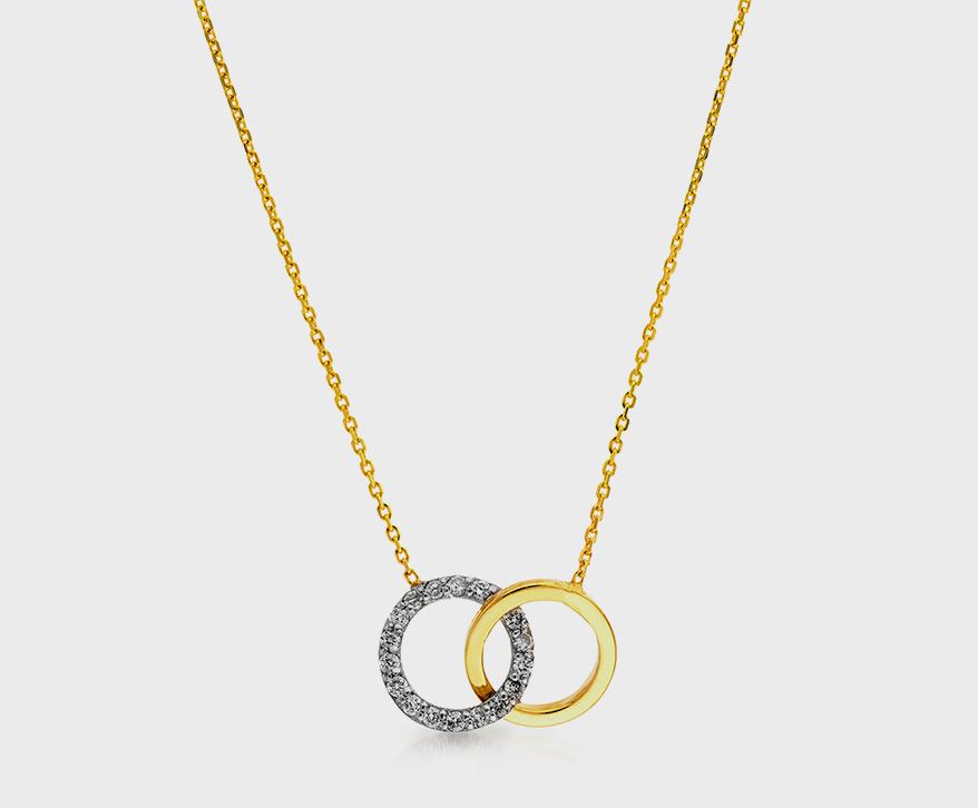 Collier Midas Chain en or jaune et blanc 14K avec diamants.