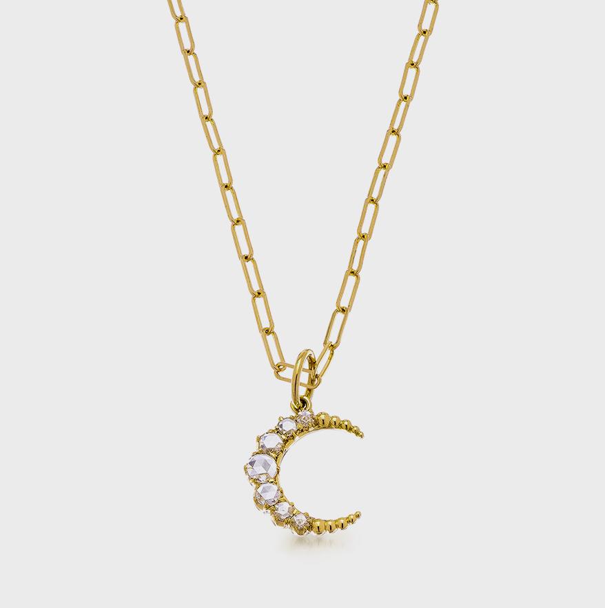 Collier pendentif Sethi Couture en or jaune 18 carats avec diamants taillés en rose.