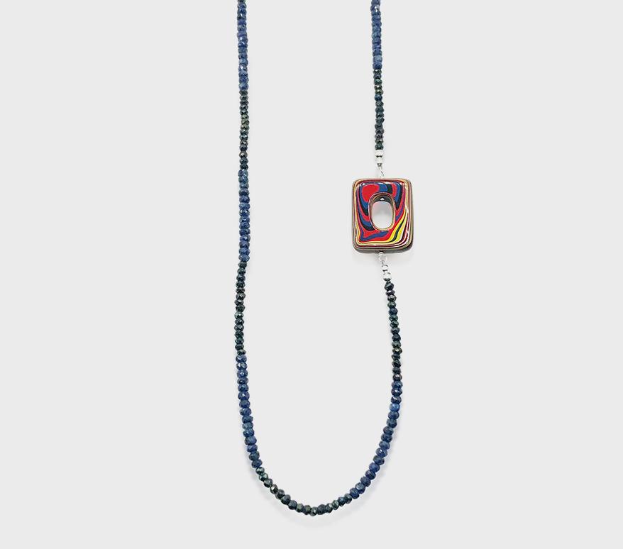 Chrissy Liu Jewelry Collier en argent sterling avec saphir, pyrite et fordite.