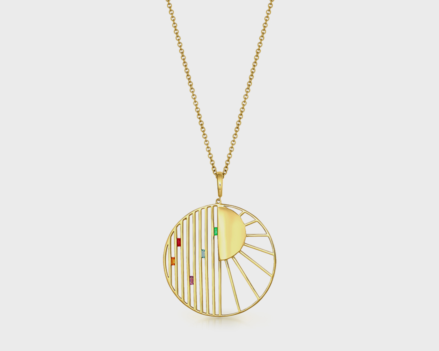 Jennifer DeMoro Jewelry Pendentif en or jaune 14 carats avec émeraude, topaze, améthyste et saphir.