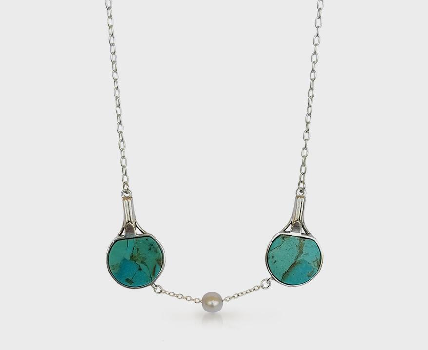 Collier Pinky Swear en argent sterling avec turquoise et perle.