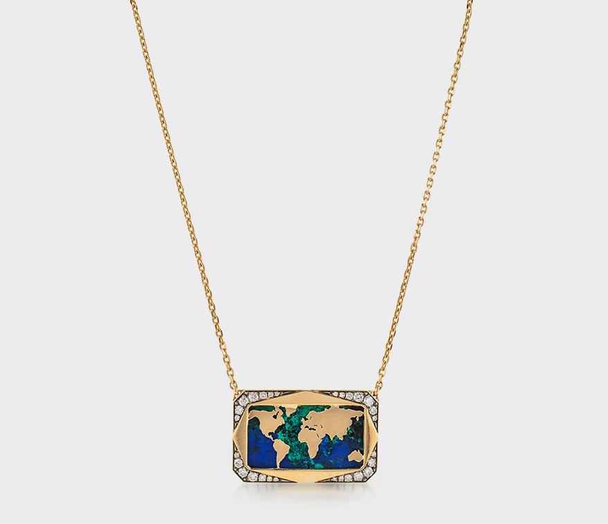 Collier Venyx en or blanc et jaune 18K avec azurmalachite et diamants.