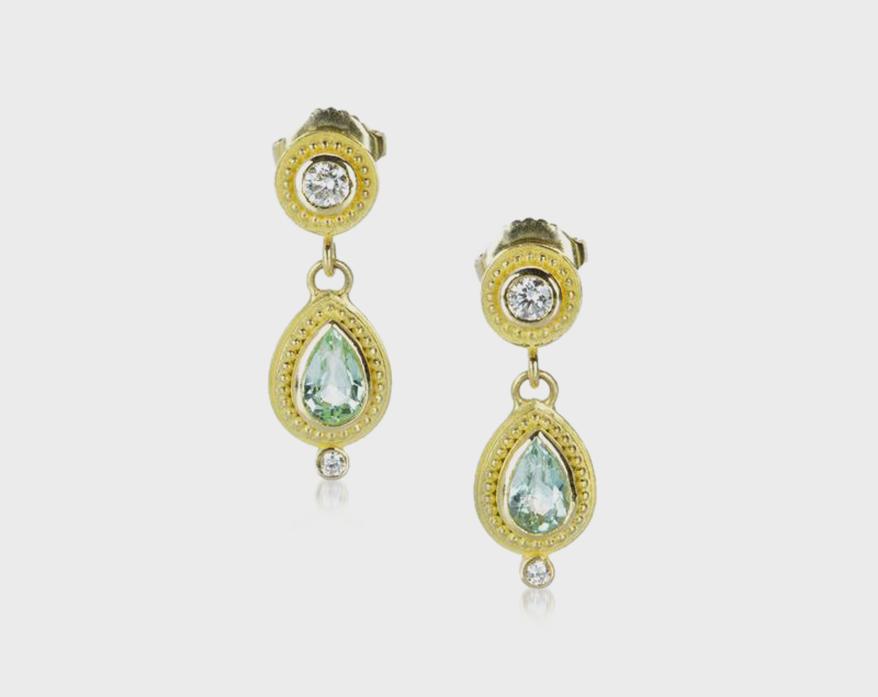 Barbara Heinrich 18K yellow gold and pear-shaped Paraiba tourmaline earrings