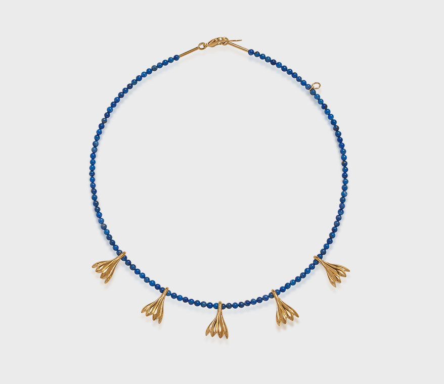 Pamela Love 14K yellow gold-plated brass necklace with lapis beads.