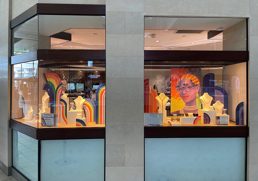 Ben Bridge Jeweler window installations celebrating love, unity and diversity