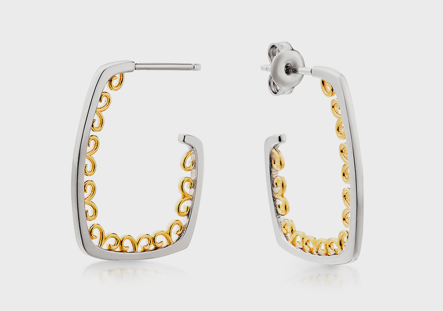 Berco Jewelry Company Sterling silver earrings with yellow gold overlay.