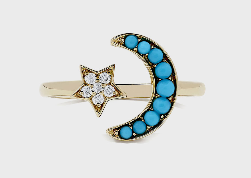 Effy Jewelry 14K yellow gold ring with turquoise and diamond.