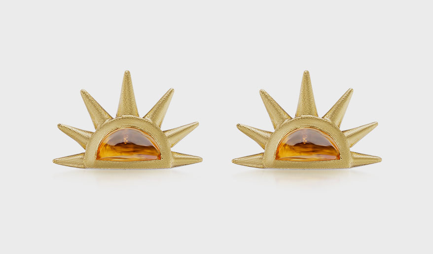Emily Weld Collins 18K yellow gold earrings with spessartite garnet cabochons