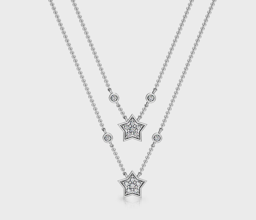 Girl Up Collection Sterling silver necklace with diamonds