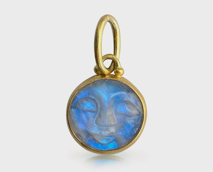 Stephanie Albertson Jewelry 22K yellow gold pendant with moonstone.