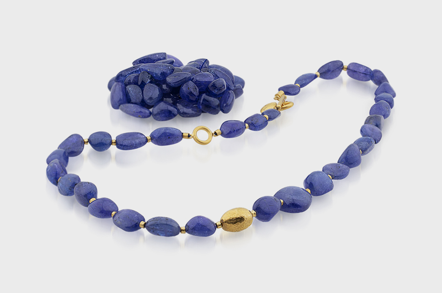 Lika Behar Collection Necklace with tanzanite beads (352 TCW) and 24K yellow gold.