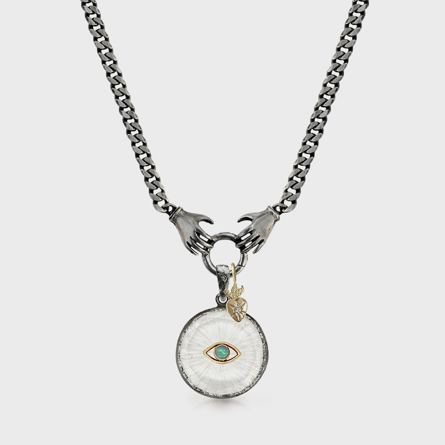 Acanthus Sterling silver charm holder necklace with 14K yellow gold, quartz, and opal charms.