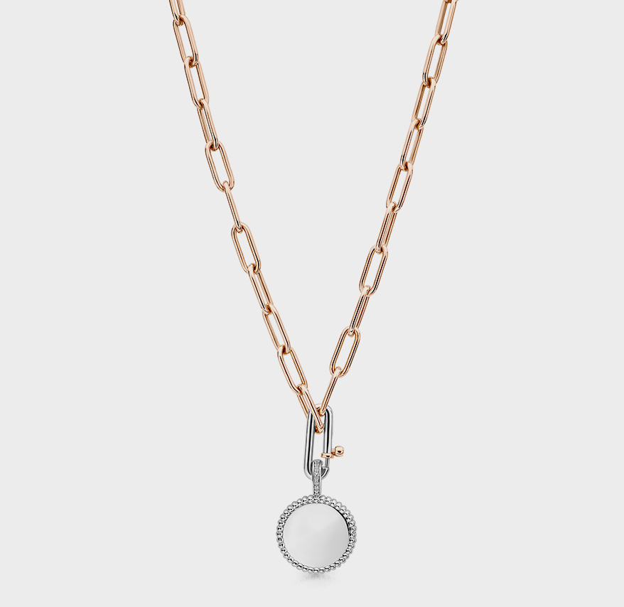 TI SENTO – Milano Rose-gold-plated sterling silver chain and rhodium plated sterling silver pendant and clip with cubic zirconia pavé.