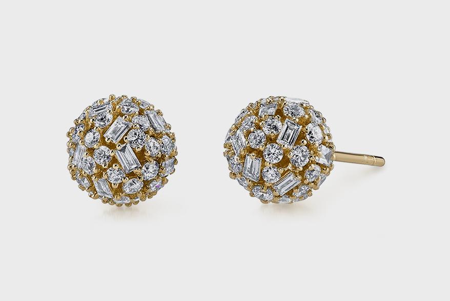 Borgioni 18K gold pavé mixed cut diamond ball stud earrings.
