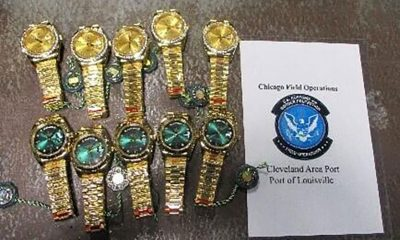 Counterfeit watches and jewelry were seized in Louisville, KY.