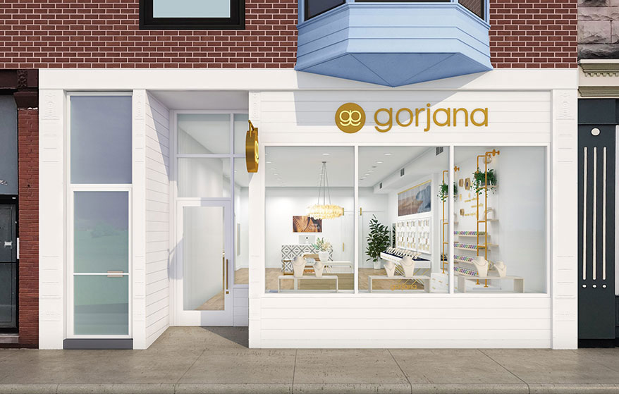 A rendering of the new Chicago location, courtesy of Gorjana.
