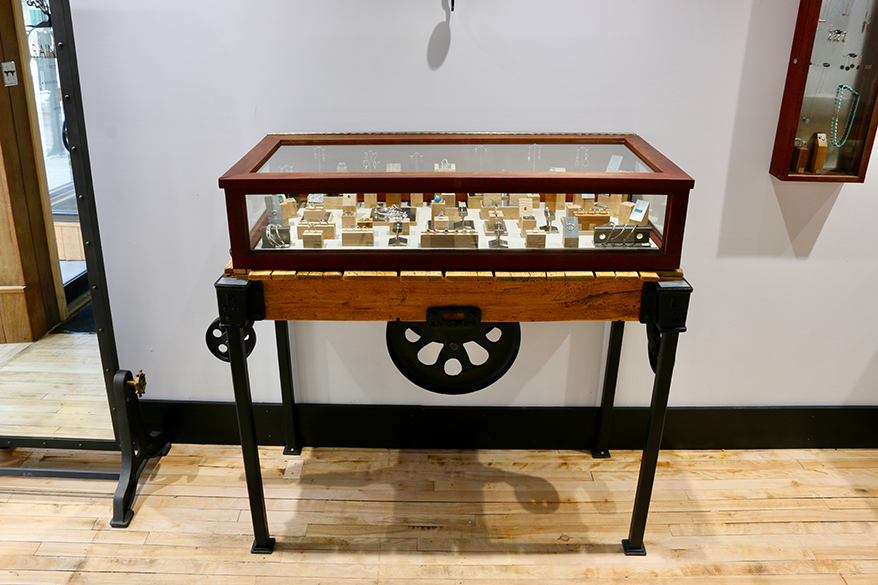 Factory carts have been repurposed as the bases for unique jewelry cases.