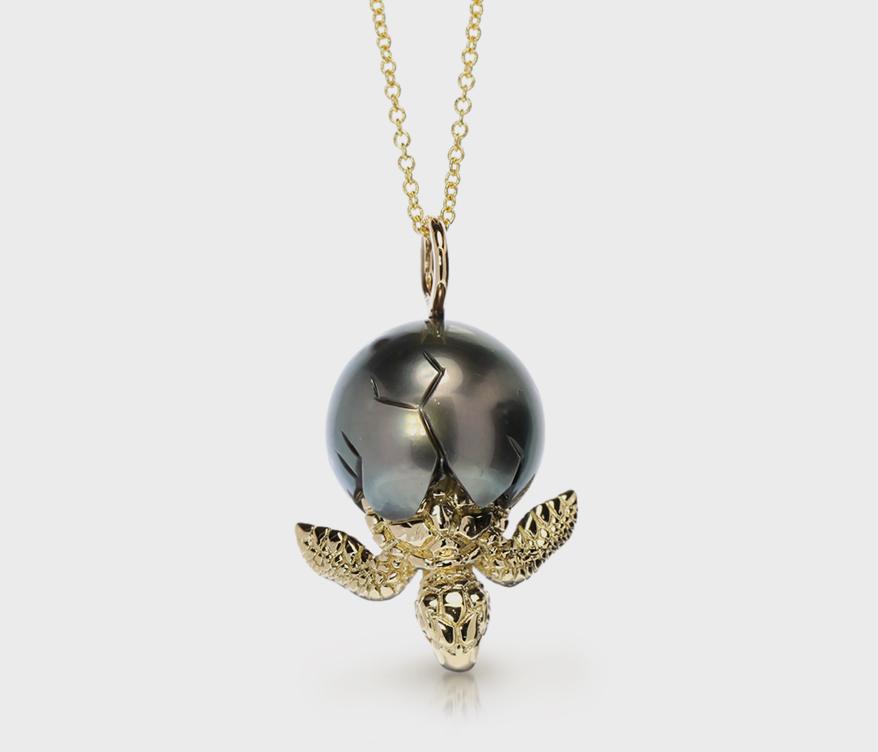 Galatea 14K yellow gold pendant necklace