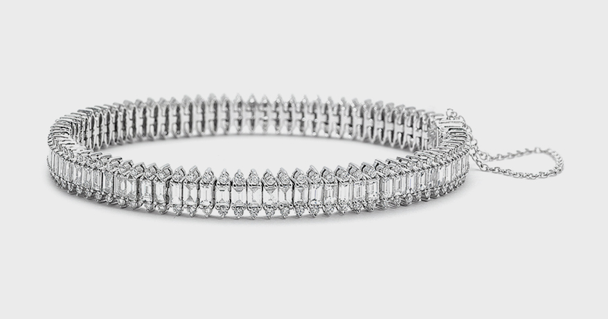 Nam Cho 18K white gold bracelet with white diamonds.