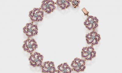 14K rose and white gold bracelet with pink sapphire and diamonds (0.76 TCW).