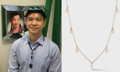 Phu Nguyen of Ba Lan Fine Jewelry in Covina, California won a Sophia Ryan Marquise Station diamond necklace by Dana Rebecca sponsored by www.brite.co at JCK Las Vegas 2021.