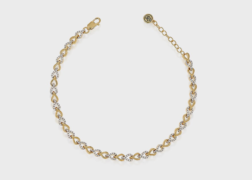 Ella Stein  14K yellow gold-plated sterling silver bracelet with diamonds