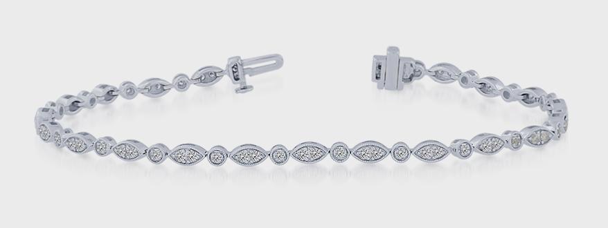 Equity Diamond Brokers  10K white gold bracelet with diamonds