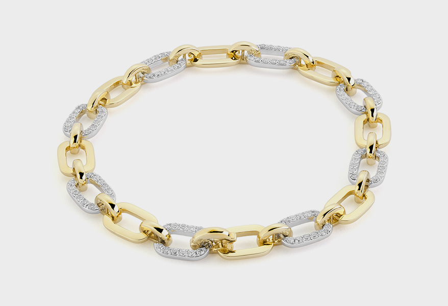 Facet Barcelona  14K white and yellow gold bracelet with diamonds
