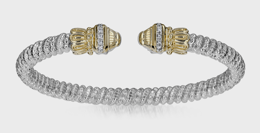 VAHAN Jewelry  14K yellow gold and sterling silver bracelet with diamonds