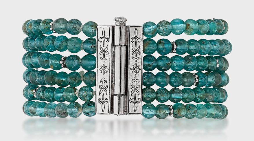 Anatoli  Sterling silver bracelet with apatite beads.