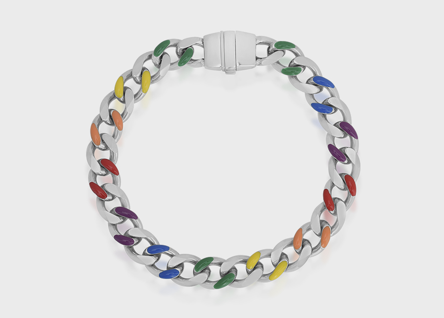 Royal Chain Group  Rhodium-plated sterling silver bracelet with enamel.