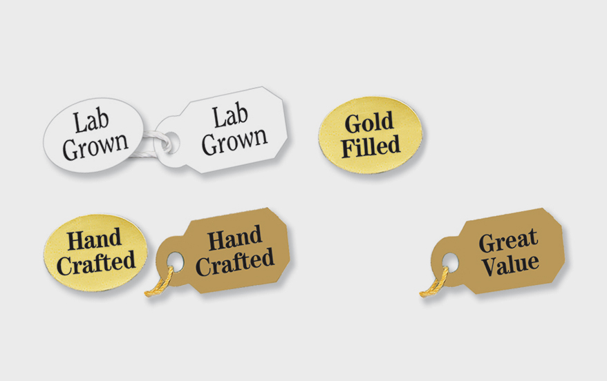 Arch Crown's pre-printed promotional tags and labels